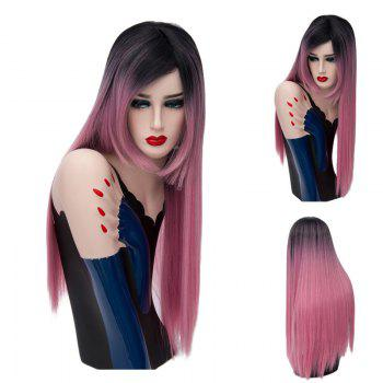 Long Side Part Colormix Glossy Straight Synthetic Wig