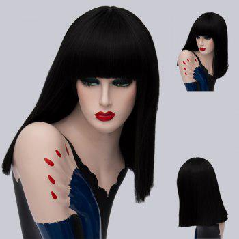 Full Bang Medium Straight Synthetic Wig - BLACK BLACK