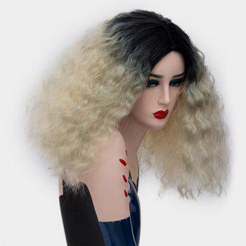 Medium Center Part Ombre Fluffy Corn Hot Synthetic Wig - VENETIAN GOLD