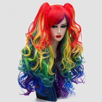 Long Side Bang Colormix Fluffy Curly Synthetic Wig With Two Bunches -  COLORFUL