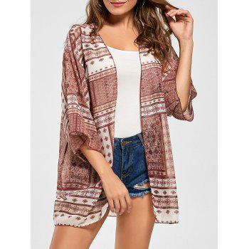Tribal Print Sheer Chiffon Kimono Cover Up