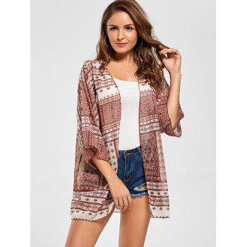 Tribal Print Sheer Chiffon Kimono Cover Up - RED ONE SIZE