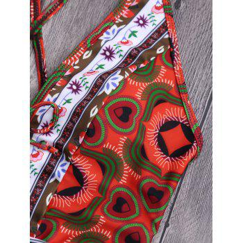 Tribal Print Floral Backless Swimsuit - multicolorcolore S