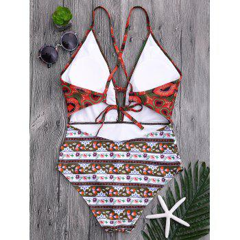 Tribal Print Floral Backless Swimsuit - COLORMIX M