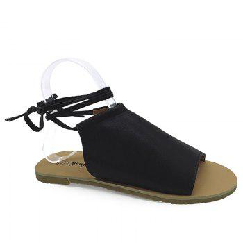 Open Toe Flat Lace Up Sandals - BLACK 37