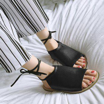 Open Toe Flat Lace Up Sandals - 37 37