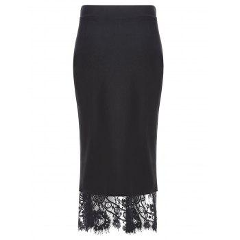 Lace Insert Button Slit Pencil Skirt - BLACK M