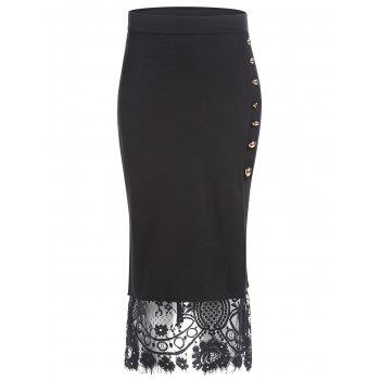 Lace Insert Button Slit Pencil Skirt