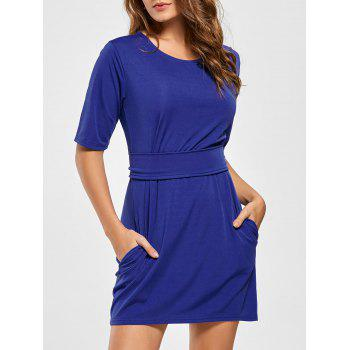 Mini Fitted Dress with Belt - BLUE L