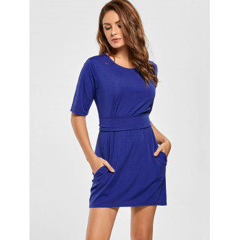 Mini Fitted Dress with Belt - BLUE BLUE