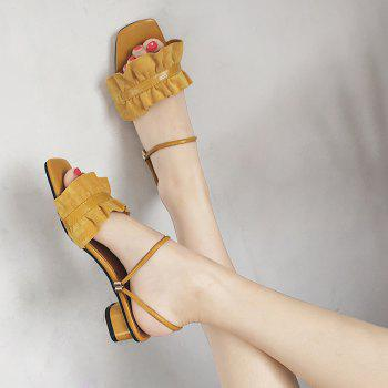 Convertible Square Toe Flounce Sandals - YELLOW YELLOW