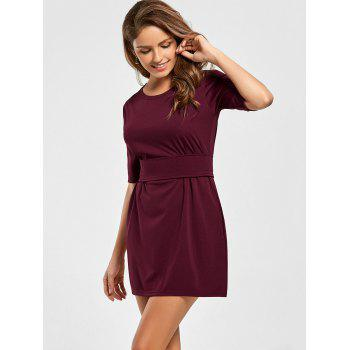 Mini Fitted Dress with Belt - WINE RED L