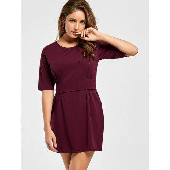 Mini Fitted Dress with Belt - WINE RED S