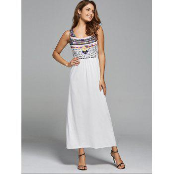 Bohemian Geometric Print Maxi Long Dress - Blanc M