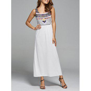 Bohemian Geometric Print Maxi Long Dress - WHITE L
