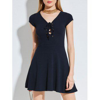 Criss Cross Lace Up Knitted Skater Dress