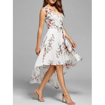 Floral V Neck High Low Dress