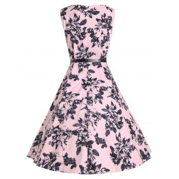 Sleeveless Vintage Print A Line Party Dress - PINK L