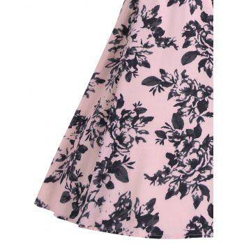 Sleeveless Vintage Print A Line Party Dress - PINK XL