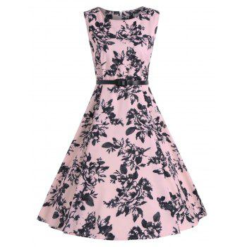 Sleeveless Vintage Print A Line Party Dress - PINK PINK