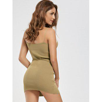 Bodycon Two Tone Knit Slip Dress - KHAKI KHAKI
