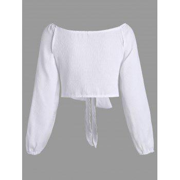 Long Sleeve Self Tie Crop Top - WHITE XL