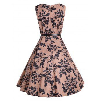 Sleeveless Vintage Print A Line Party Dress - DEEP PINK M