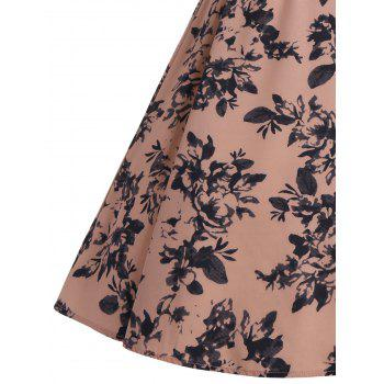 Sleeveless Vintage Print A Line Party Dress - DEEP PINK S