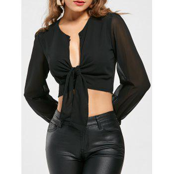 Knotted Chiffon Cropped Long Sleeve Top - BLACK S