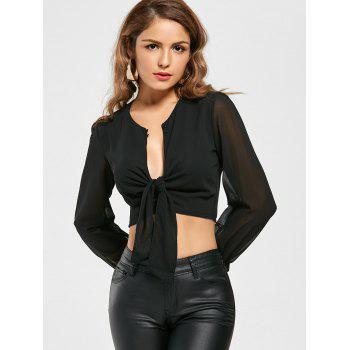 Knotted Chiffon Cropped Long Sleeve Top - M M