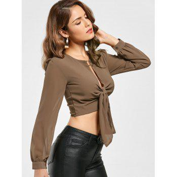 Knotted Chiffon Cropped Long Sleeve Top - XL XL