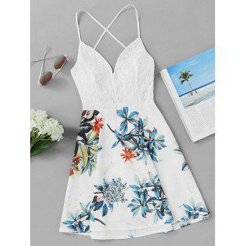 Lace Insert Leaf Printed Backless Short Dress