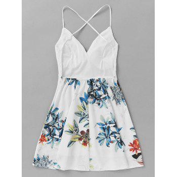 Lace Insert Leaf Printed Backless Short Dress - WHITE XL