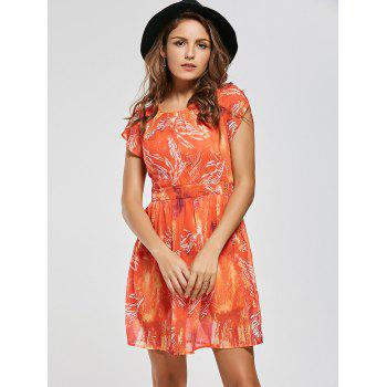 Printed Chiffon Mini A Line Dress - Saumon 2XL