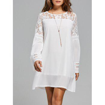 Long Sleeve Lace Panel Shift Dress