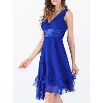 Sleeveless Layered Empire Waist Surplice Chiffon Dress - ROYAL ROYAL