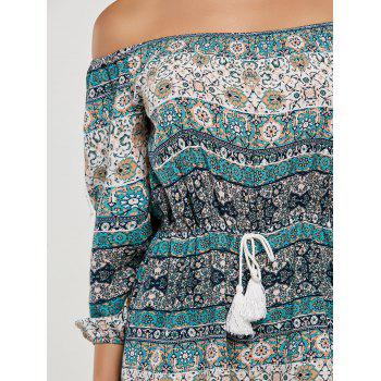 Boho Off The Shoulder Tassel Drawstring Romper - multicolor L