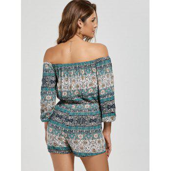 Boho Off The Shoulder Tassel Drawstring Romper - multicolor XL