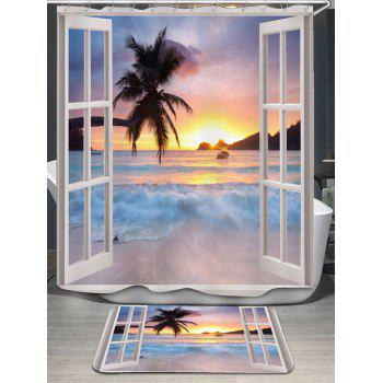Window Scenery Pattern Shower Curtain and Rug