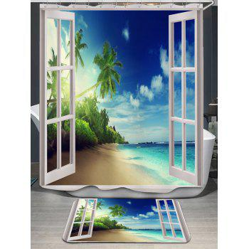 Coconut Palm Window Scenery Shower Curtain and Rug