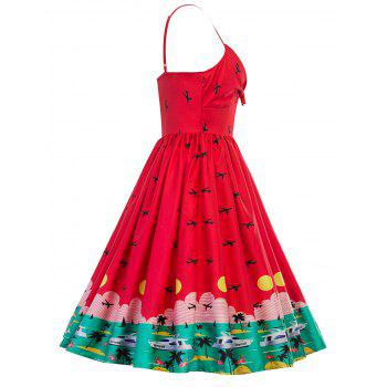 Vintage Watermelon Swing Pin Up Dress - RED RED