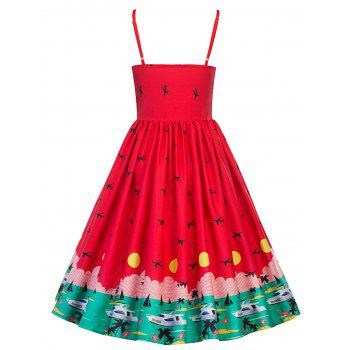 Vintage Watermelon Swing Pin Up Dress - RED S