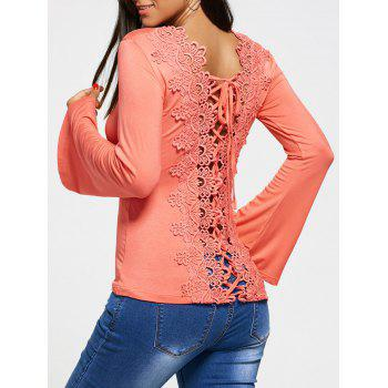 Long Sleeve T-shirt with Hollow Out Lace
