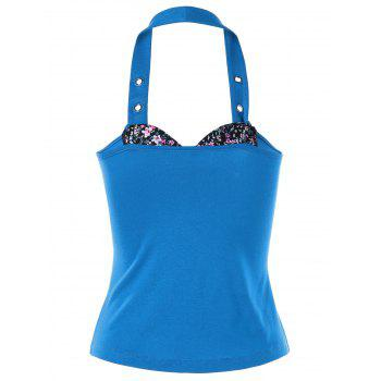 Lace Up Halter Bustier Top - LAKE BLUE M