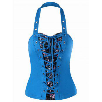 Lace Up Halter Bustier Top - LAKE BLUE 2XL