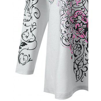 Plus Size Bandana Floral Long Sleeve Top - ROSE RED XL