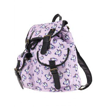 Buckles Unicorn Print Backpack - PINKISH PURPLE