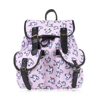 Buckles Unicorn Print Backpack