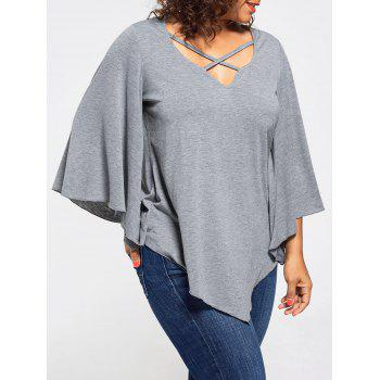 Lace Insert Plus Size Batwing Sleeve Blouse
