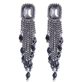 Link Chain Fringe Square Artificial Gem Drop Earrings